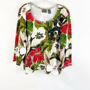 Additions By Chicos Floral Tropical Shirt XL